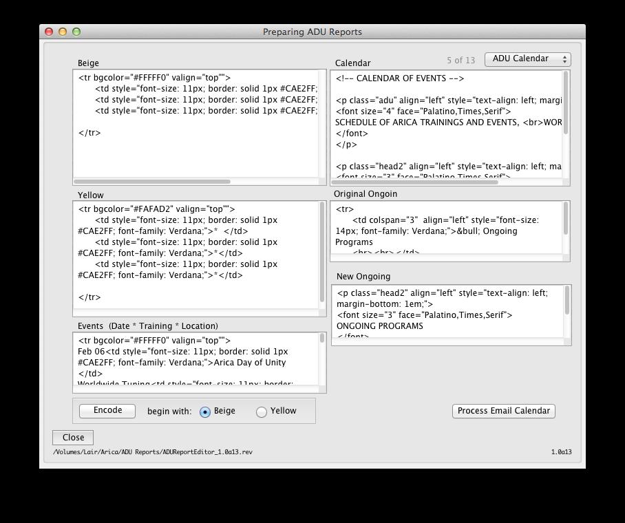 Calendar to HTML